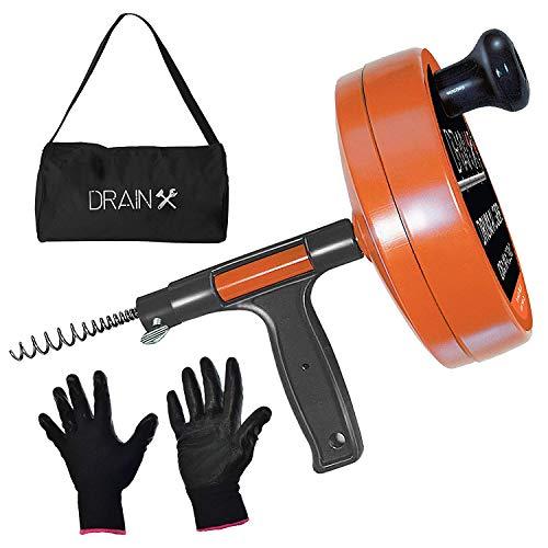 DrainX Drain Auger Pro   Heavy Duty Steel...
