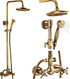Antique Brass Bathroom Shower Faucet Set...