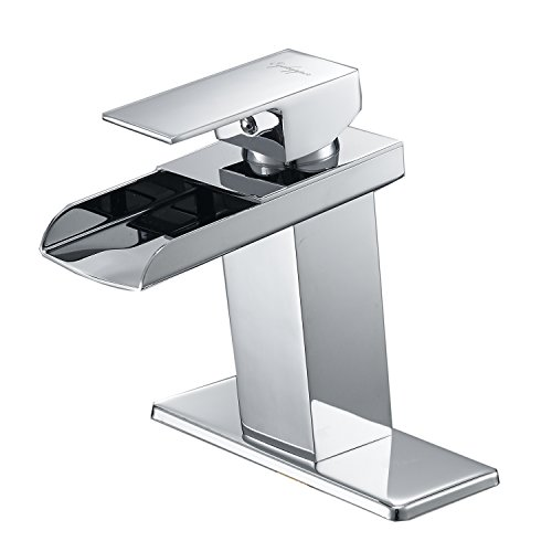 BWE Chrome Waterfall Bathroom Faucet Single...