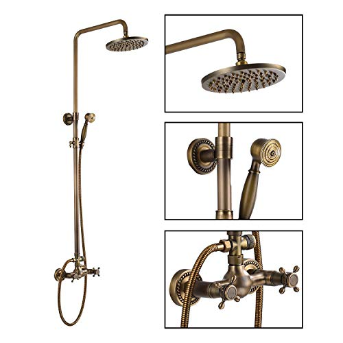 Antique Brass Bathroom Shower Faucet Set...