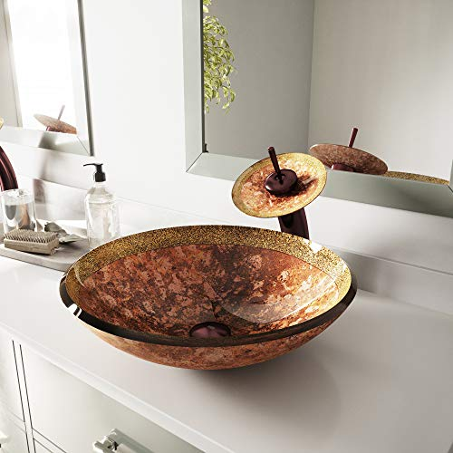 VIGO Janus Glass Vessel Bathroom Sink and...