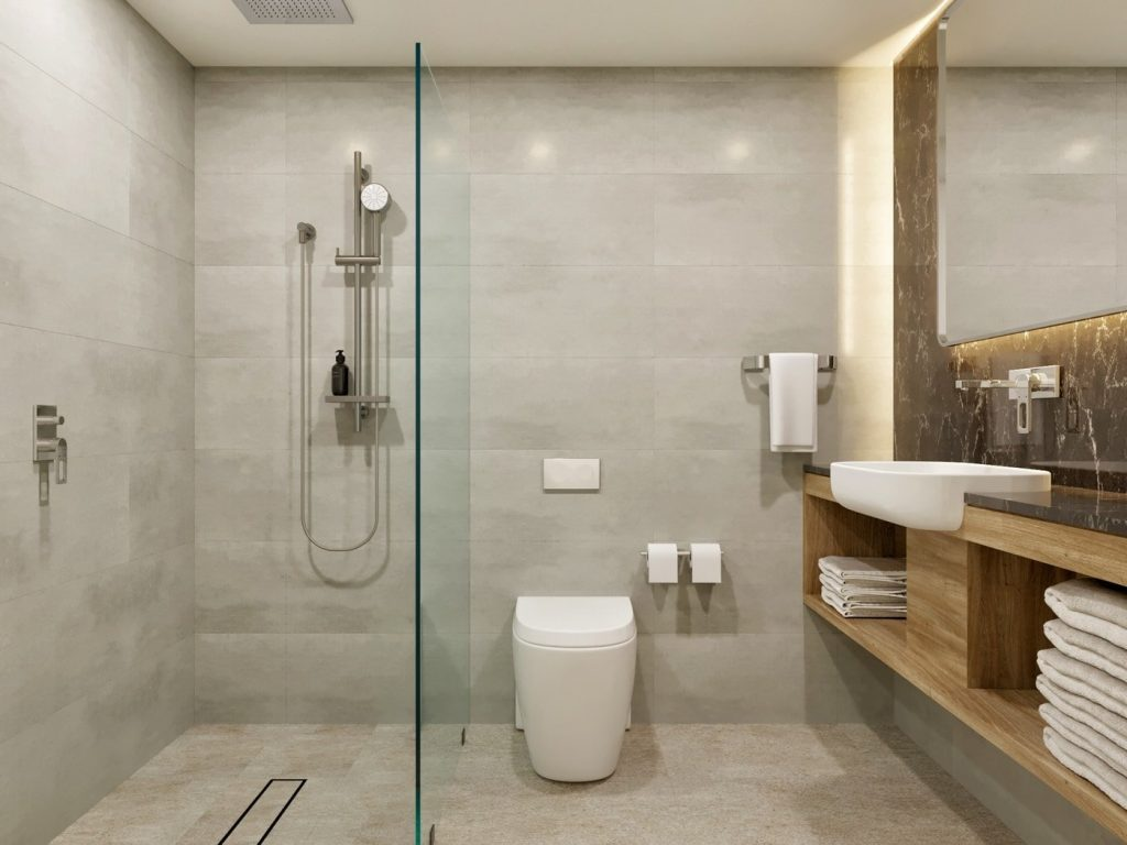 bathroom toilet and shower
